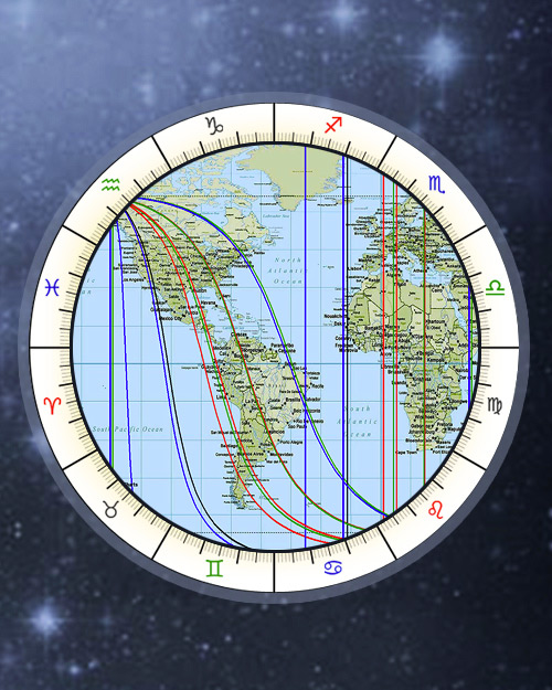 Free Astro Map, AstroCartography Online Cartography, Relocation Chart